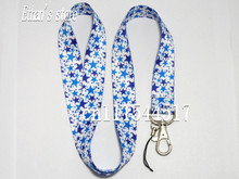Blue White Star Pattern Badge Lanyard for keys Star-shaped Painting Mobile Phone Neck Straps(China)