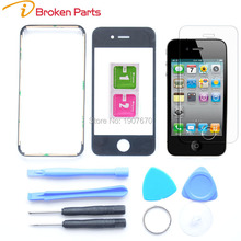 Brand New Front Glass Lens+Middle Frame Bezel For iPhone 6 5 5s 5c 4s 4 4g Front Glass Replacement+Tempered Glass +Tools