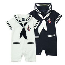 Sailor One-piece 100% Cotton Scarf Decor Ropa Recien Nacido Short Sleeve Pocket Polo Baby Turn-down Collar Sailor One-piece