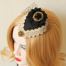 sexy Jacobs small hat headdress bow Vintage aristocratic ladies Hair Clip black hair ornaments sexy headwear Wedding Party