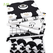 Chainho Twill Cotton Fabric,Patchwork Black Tissue Cloth,DIY Sewing Quilting Fat Quarters Material For Baby&Children,10pcs/lot,(China)