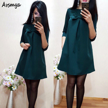 Fashion Summer Women Loose Beach Dress Vestidos Half Sleeve Bow Green Blue A-Line Mini shirt dresses Plus Size Bodycon Avsmya