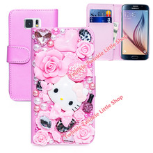 Hot Cute Hello Kitty Rhinestone Wallet Leather Case For Samsung Galaxy S7 and Galaxy S7 edge Phone Cases Accessories Protector(China)