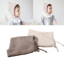 Hot Sell 1Pc Steeple Witches Knitted Hat Girls Boys Lace-Up Solid Color Newborn Baby Bonnet