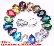 10x14mm teardrop shape crystal glass 20pcs/pack Sew-On Stones With Claws DIY Clothes & Accessories(China)