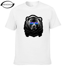 Summer DJ Bear Casual Hip Hop T-shirt Fashion Short Sleeve Animal T shirt Hipster Tops Youth Tees Homme(China)