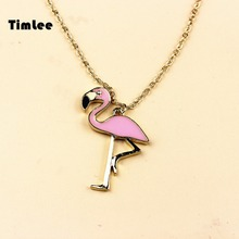 Timlee N056 Free shipping Cartoon Cute Pink Flamingo Bird Design Necklaces Fashion Jewelry Wholesale(China)