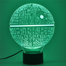 AUCD 3D Table Lamp Action Diagram Children's Christmas Gifts Toys USB Novelty Star War Star 7 Colors Change LED Night Light-107(China)