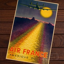 France America Air Line Vintage Travel Poster Classic Retro Kraft Decorative Maps Wall Sticker Home Bar Posters DIY Decor Gift(China)