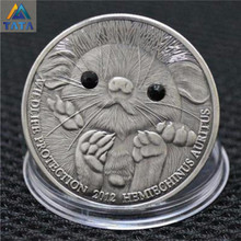 Kawaii Diamond Hedgehog Coin Anaglyph Crystal Silver Coins 38mm Packed With Acrylic Round Box Cheapest Sale Free Ship