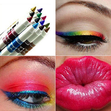 New Trendy 12Pcs Waterproof Glitter Lip Liner Eye Shadow Pencil Pen Makeup Set