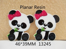 5Y13245 freeshipping 46*39mm flat back resin cartoon panda pattern planar resin diy holiday decoration accessories mini order $6