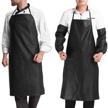 Faux Leather Chef Apron Waterproof Restaurant Cooking Bib Apron Sleeveless Apron + Cuff Unisex  for Men Household Tools