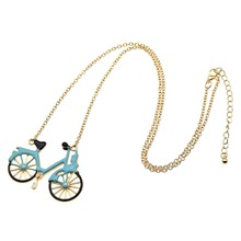 1 piece Blue Enamel Bike Bicycle Pendant Necklace Gold Color Alloy Long Statement Necklace Jewelry for Men Women
