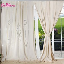HotTube Curtain French Country Cotton Linen Crochet Lace Panel Drape customize for Living Room Hotel Cafe(China)
