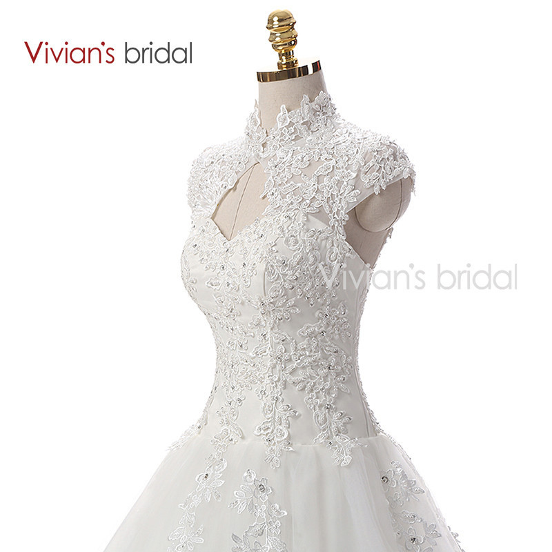 Vivian\'s Bridal A Line Lace Tulle Wedding Dresses 2 (2)