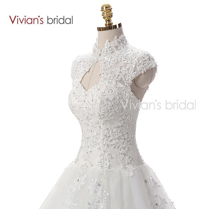 Vivian\'s Bridal A Line Lace Tulle Wedding Dresses 2 (2)