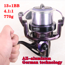 Hynix 8000 13+1BB long shot reel casting for carp and salt water surf spinning big sea fishing reel 4.1:1Metal Fishing Reel(China)
