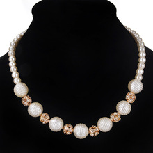 2017 Free Shipping New Design Simulated Round Pearl Chain Necklace for Women Bridal Jewelry Wedding Gifts CZ Diamonds Necklace