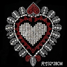 3pc/lot Flash Heart hotfix rhinestones, heat transfer design iron on motifs,rhinestone for garment/sewing supplies