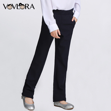 VOVLORA 2017 Leggings Girls Trousers Dark blue Solid Mid Long Straight Regular Pants Plus size Baby Girls School Pants 9 10 12(China)