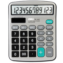 [RedStar]Deli DL-1837 electronic calculator 12 digit solar & Battery dual power office matel panel calculator installed battery(China)