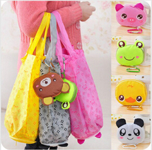 100pcs/lot Foldable Portable Cute Handy Storage Bag Tote Animal Cartoon Big Folding Buggy Storage Reusable Recycle Shopping Bag