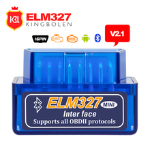 2017 Super MINI ELM327 Bluetooth V2.1 OBD2 Code Reader Work on Android Torque Diagnostic Tool ELM 327 Support OBDII Protocols(China)