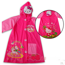 Kawaii PVC Hello Kitty Doraemon Dora Princess Mickey Minnie Spongbob Princess Raincoat Pincho Child(China)