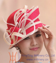Free Shipping Hot Sale High Quality Women Hat Fashion Hat Straw Hat Sinamay Flower Ribbons Summer Two Tone Color Fedora Cloche(China)