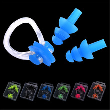 High Quality Silicone Swimming earplug adult Waterproof swimming ear plugs Soft Swim nose clip set with case Wholesale