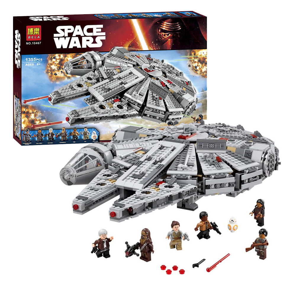 Star Wars Force Awakening Millennium Falcon Building Blocks 1355 Pcs Toy Bricks Childrens Gifts Piece Together ABS 6 Age+ 10179<br>