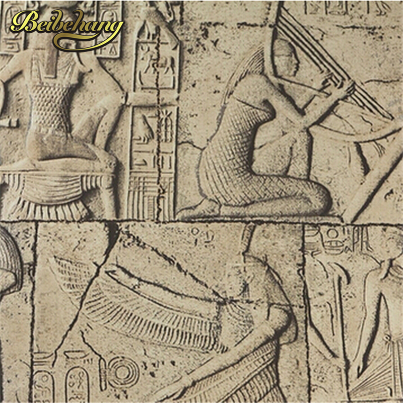 beibehang High Quality Embossed wallpaper 3D Egypt ancient wall murals Classical sculpture vintage PVC vinyl wallcovering waterp<br>