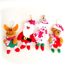 4PCS christmas tree decorations pendant home Xmas decoration lovely new Year gifts Santa Claus ornaments Snowman bear elk doll