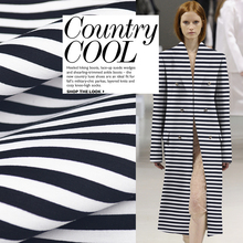 Sandwich three-layer air layer profile fabric black and white stripes space cotton fabric sweater dress jacket clothing fabric