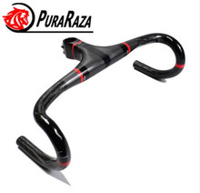 PuraRaza XXX Ultra light road bike handle carbon fiber road handlebar Integrated Handlebar With Stem bicycle handlebar bend 260g(China)