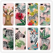 AIPUWEI Soft Silicone Plants zebra green Leaves Case For iphone 6 6S 5 5s SE 7 7Plus Transparent Clear TPU Phone Back Cover(China)