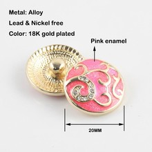 12pcs/lot new  wholesale 20mm mix colors enamel rhinestone snap button jewerly ginger snap button bracelet&bangles