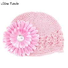 Toddlers Infant Baby Girl Fashion chrysanthemum Flower Hollow Out Hat Headwear Knitted Hat cotton Hat for a girls cap kids(China)