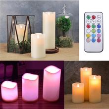 3Pcs/set Popular Holiday Party Celebration Romantic Changing Color RGB LED Candles with Remote Control Flameless Candles(China)