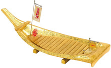 Free Shipping Japanese Restaurant Acrylic Golden Sushi Boat with Flag, 66cm/26inch for Serving Tray Food Seafood Sushi Sashimi