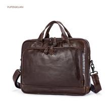 YUPINXUAN Mens Cow Leather Handbags Fashion Businessmen Bag Genuine Leather Zipper Briefcase Multifunction Men Brief Case Russia(China)