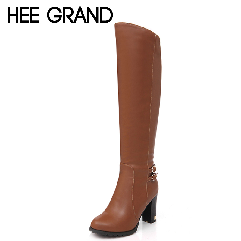 HEE GRAND Buckle Winter Women Boots Sexy Platform Knee-High Boots Casual Ladies Square High Heels Elegant Shoes Woman XWX3720<br><br>Aliexpress