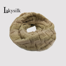 [Lakysilk]Women Knitted Ring Scarf Cotton Acrylic Soft Snood Girls Winter Fashion Scarves 2Circles Warm Cashmere Scarf Brand(China)