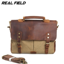 Real Field RF Men Canvas Business Shoulder Bag Canvas Messenger Briefcase Fashion Vintage Crossbody Casual Document Handbags 092(China)