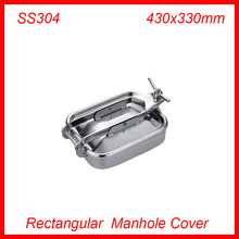 430x330mm SS304 Stainless Steel Rectangular Manhole Cover Manway tank door way(China)