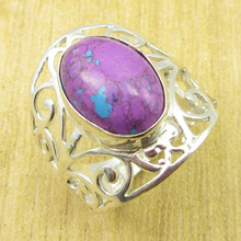 Purple Copper Turquiose Ring Size US 8.75 ! Silver Plated Jewelry ONLINE STORE(China)