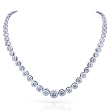 TransGems 15CTW Lab Grown Created Moissanite Eternity Diamond Chocker Necklace 18K White Gold for Women jewelry Wedding(China)
