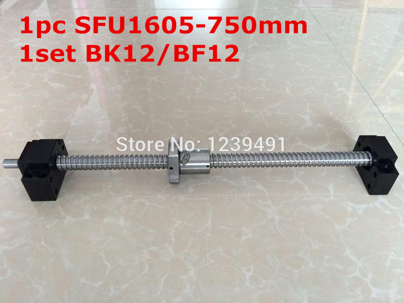1pcs SFU1605 Ballscrew 750mm BK/BF12 standard processing + 1set BK/BF12 Support   CNC rm1605-c7<br>