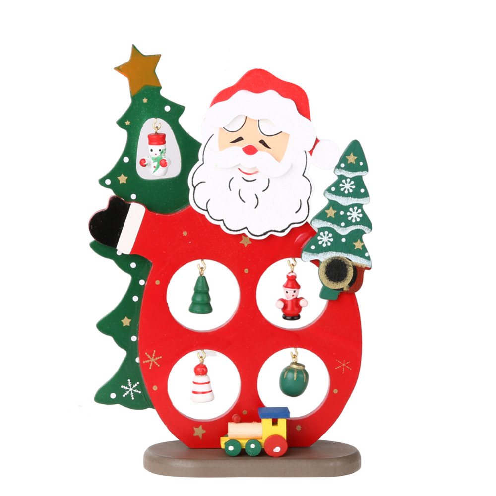 13*18cm Christmas Decorations Mini Wooden Christmas Tree Table Xmas Tree Top  Santa Clause Snowman Ornament Home Decor